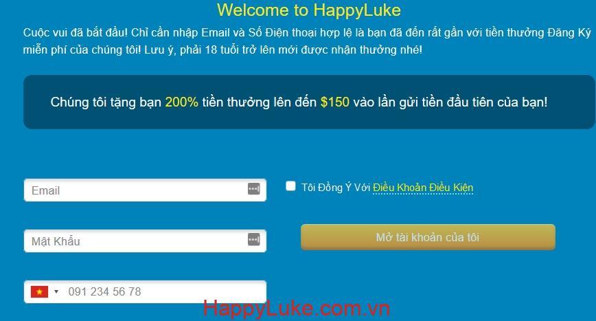 Mở tài khoản HappyLuke
