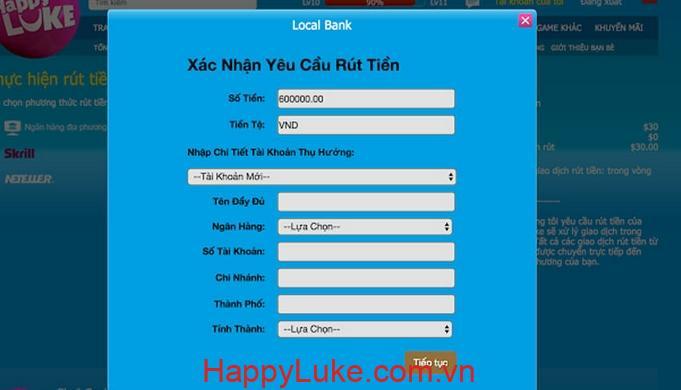 Xác nhận rút tiền HappyLuke